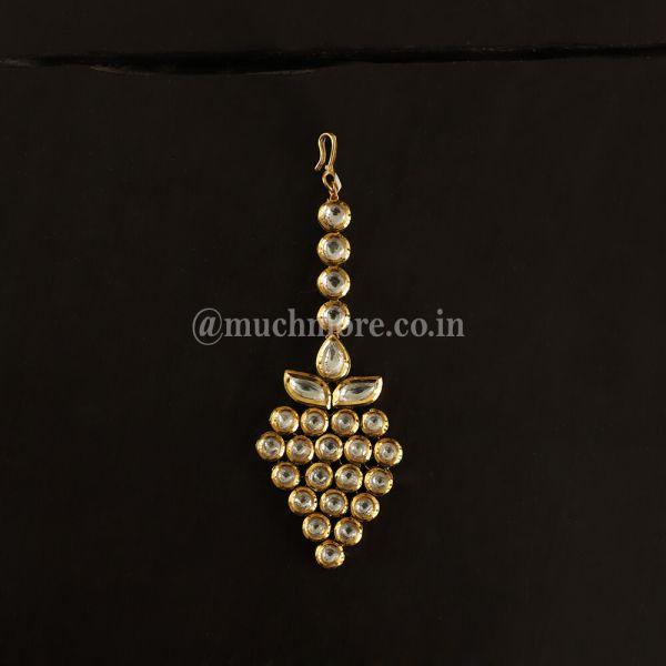 Gold-Toned Kundan Studded Traditional Maangtikka