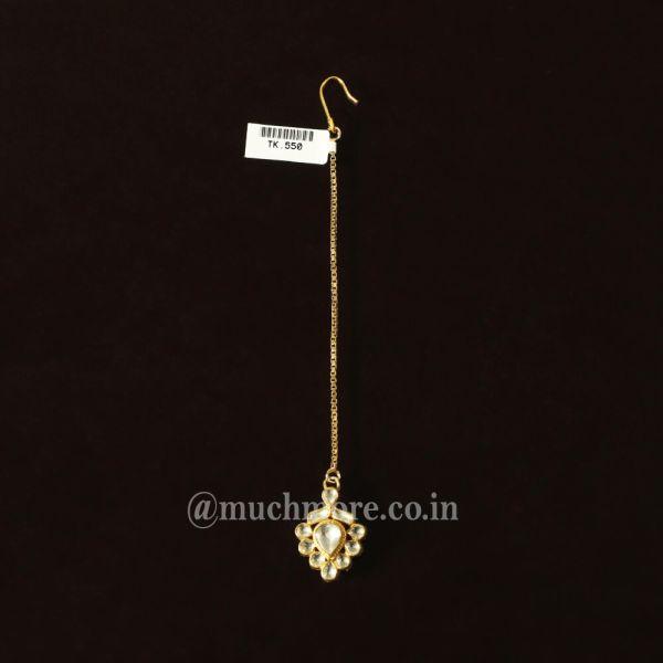 Gold Tone Small Beautiful Kundan Maang Tikka