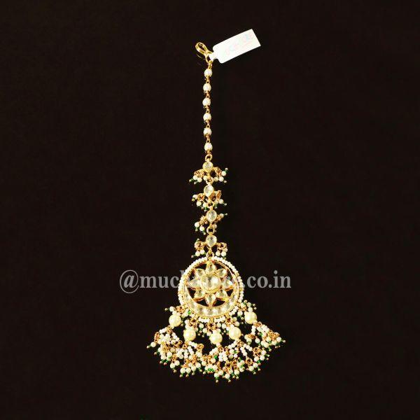 Gold Tone Indian Bridal Jadau Round Maang Tikka