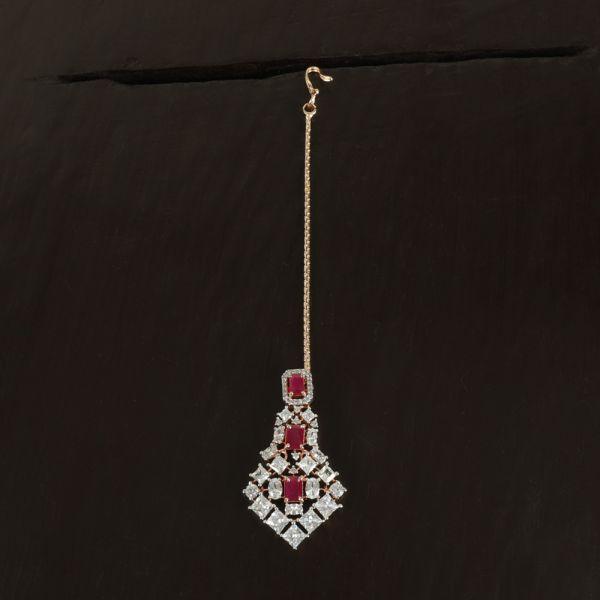 Golden Ruby Diamond Maang Tikka