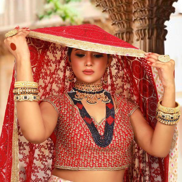 Choker Set & Rani Haar Layered With Precious Stones