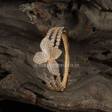 Gold Plated Floral Pattern Openable Bracelet