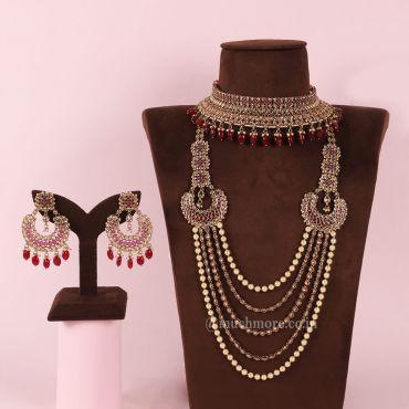 Unique Design Ruby Gold Tone Bridal Jewelry