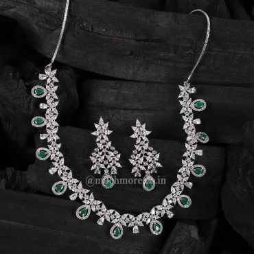 Semi Precious Emerald Studded Necklace With Earring