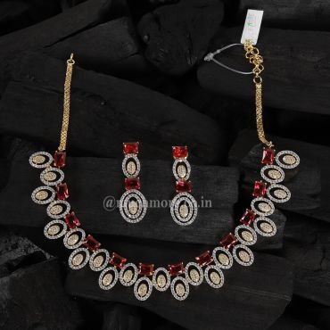 Unique Design Of Ruby Studded Diamond Necklace