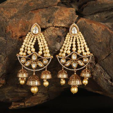Kundan White Earring