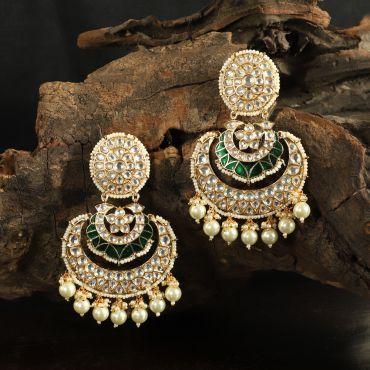 Green Meena Work Kunda Earrings