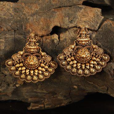 Gold Tone Elephant Stud Earrings