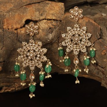 Party Wear Green Antique Earring