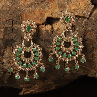 Traditional Indian Polki Green Earring