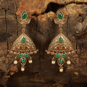 Antique Polish Green Semi Long Earring