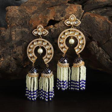 Kundan White-Blue Earring