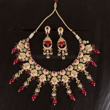 Traditional Meena Kundan Necklace Set