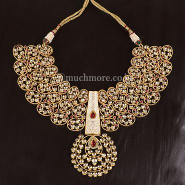Exclusive Ruby Colored Kundan Necklace Set