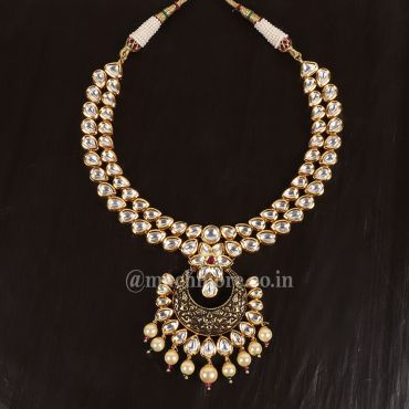 Black Meena With Pearl Hanging Necklace Set