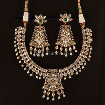 Kundan Jadau Green Necklace With Earrings
