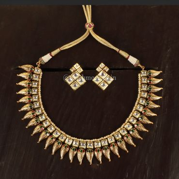 Ruby Green Kundan Necklace With Earring Set