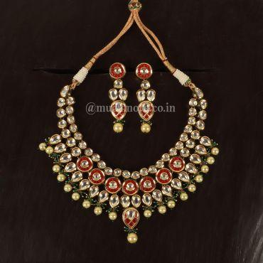 Ruby Green Jadau Necklace Earrings Set