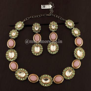 Multi Color Big Kundan Necklace Single Line