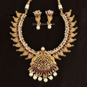 Beautiful South Indian Style Ruby Necklace Set