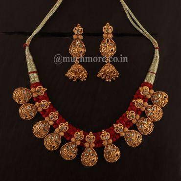 Gold Plated Guluband Ruby Necklace Set
