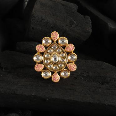 Beautiful kundan Pink Meena Ring