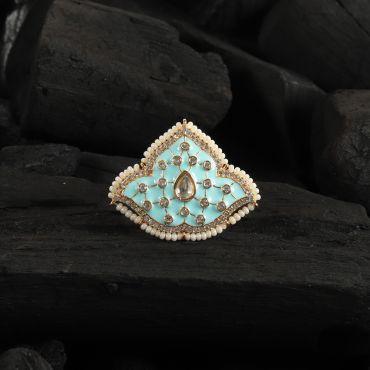 Sea Blue Jadau Kundan Ring