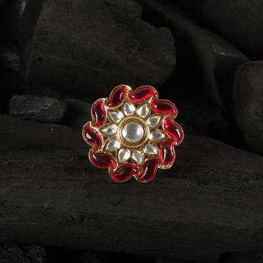 Gold Plated Kundan Studded Red Outlined Ring