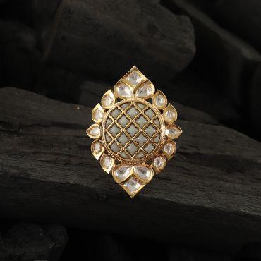 Desinger Gray Meena Kundan Ring