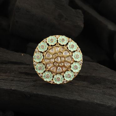Mint Green Flower Enamel Ring