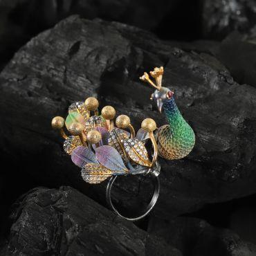 Peacock Diamond Finger Ring