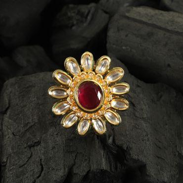Kundan Ruby Finger Ring
