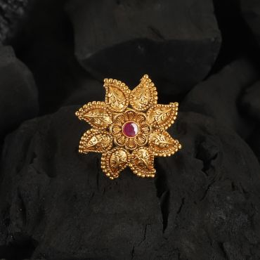 Gold Polish Ruby Floral Ring
