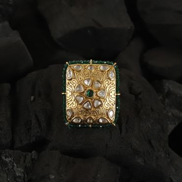 Emerald Green Jadau Kundan Ring