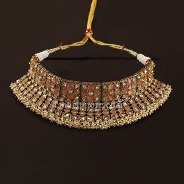 Peach Gold Tone Bride Choker Necklace With Earrings