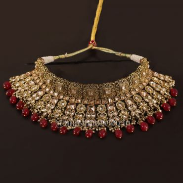 Traditional Ruby Red Choker Necklace For Bride